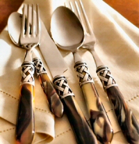 Yellow Plastic Handle Dinner Fork ITALY Art Deco Stainless 1810 BUGATTI Collection