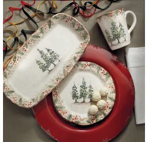 Setting a Christmas or Winter Table with Classic Italian Dinnerware Pattern Natale Handmade in Italy & Country Christmas Dinnerware - Italian Christmas Dinnerware Italy ...
