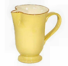 Large Footed Pitcher in Cream and Saffron